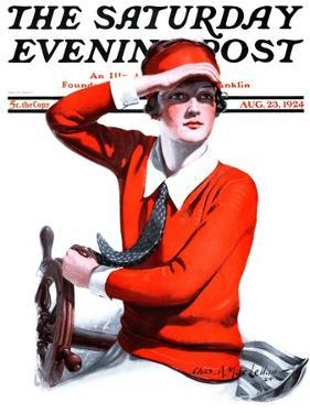 """""""Woman Boater,"""" Saturday Evening Post Cover, August 23, 1924 by Charles A. MacLellan"""