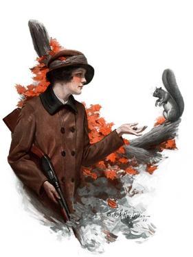"""""""Woman Hunter Feeding Squirrel,""""November 3, 1923 by Charles A. MacLellan"""