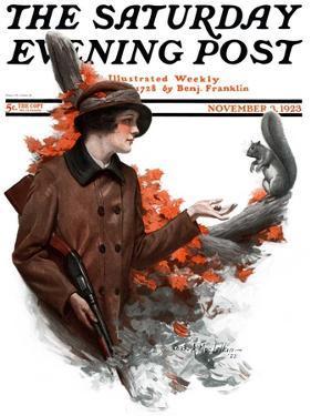 """Woman Hunter Feeding Squirrel,"" Saturday Evening Post Cover, November 3, 1923 by Charles A. MacLellan"