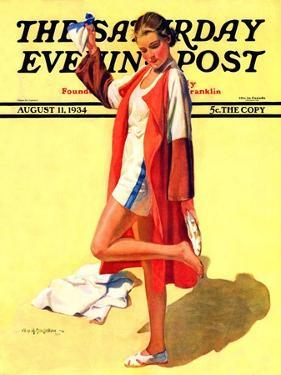 """Woman in Beach Outfit,"" Saturday Evening Post Cover, August 11, 1934 by Charles A. MacLellan"