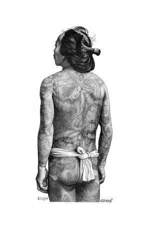 Japanese Man with a Tattooed Back, 1895