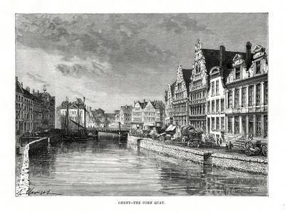 The Corn Quay, Ghent, Flanders, Belgium, 1879