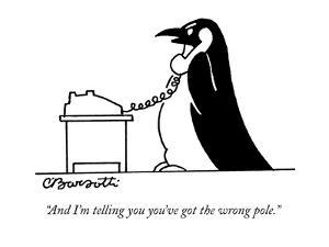 """And I'm telling you you've got the wrong pole."" - New Yorker Cartoon by Charles Barsotti"