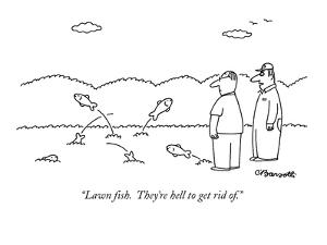 """Lawn fish.  They're hell to get rid of."" - New Yorker Cartoon by Charles Barsotti"