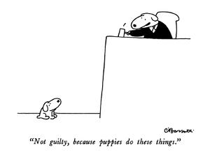 """Not guilty, because puppies do these things."" - New Yorker Cartoon by Charles Barsotti"