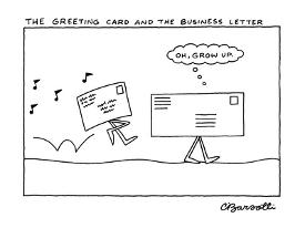Affordable charles barsotti new yorker cartoons framed art for sale the greeting card and the business letter new yorker cartoon by charles barsotti m4hsunfo