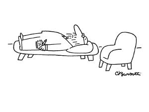 Therapist lies down on his own couch. - New Yorker Cartoon by Charles Barsotti