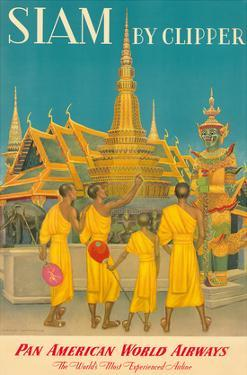 Thailand by Clipper - Pan American World Airways - Monks at Wat Phra Kaeo, Temple of Emerald Buddha by Charles Baskerville
