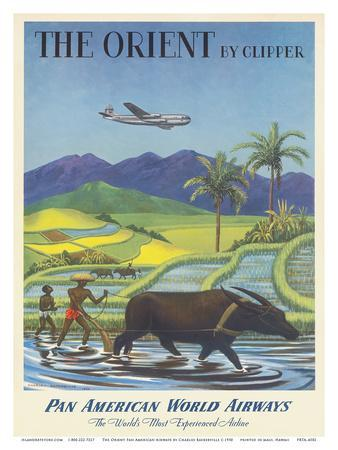 The Orient by Clipper, Boeing Stratocruiser flies over Asian Rice Paddy, Pan American World Airways