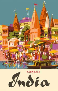 Varanasi India, Ganges River, (Banares, Banaras, Kashi) in Uttar Pradesh, Manikarnika Burning Ghat by Charles Baskerville