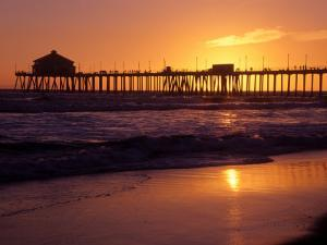 Ocean Pier at Sunset, Huntington Beach, CA by Charles Benes
