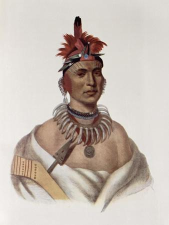 Chon-Ca-Pe, Oto Chief, The Indian Tribes of North America, Vol.1, Mckenney and Hall, Pub.Grant by Charles Bird King