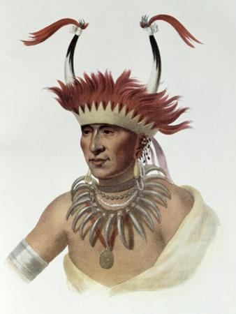 L'Ietan, Oto Half-Chief, 1821, The Indian Tribes of North America, Vol.1 by Charles Bird King