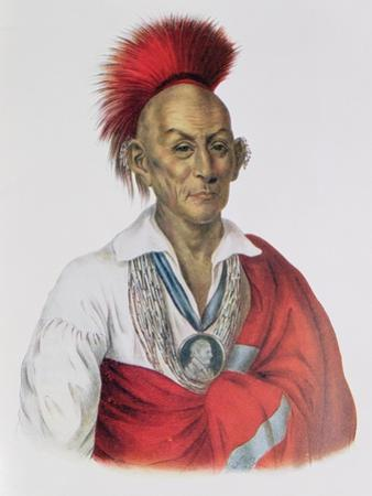 Ma-Ka-Tai-Me-She-Kia-Kiah or Black Hawk, a Sauk Brave, 1837, Illustration from 'The Indian Tribes… by Charles Bird King
