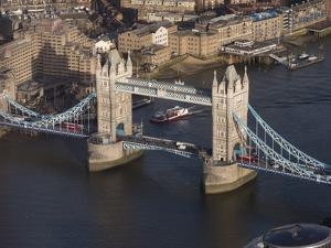 Aerial of Tower Bridge, London, England, United Kingdom, Europe by Charles Bowman