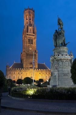 Belfry Tower at Dusk in Bruges, UNESCO World Heritage Site, Belgium, Europe by Charles Bowman