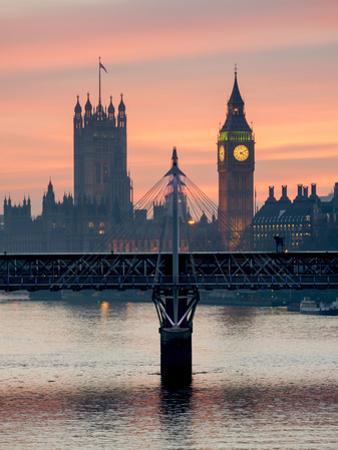 Big Ben with Hungerford Bridge at Sunset, London, England, United Kingdom, Europe