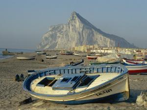 Boats Pulled onto Beach Below the Rock of Gibraltar, Gibraltar by Charles Bowman