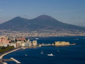 Cityscape Including Castel Dell Ovo and Mount Vesuvius, Naples, Campania, Italy, Europe by Charles Bowman