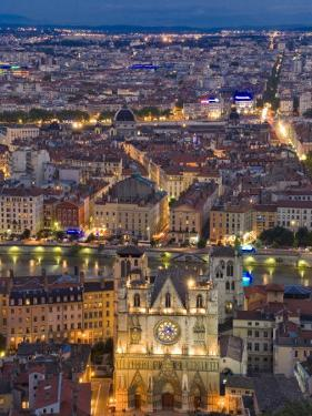Cityscape, River Saone and Cathedral St. Jean at Night, Lyons (Lyon), Rhone, France, Europe by Charles Bowman