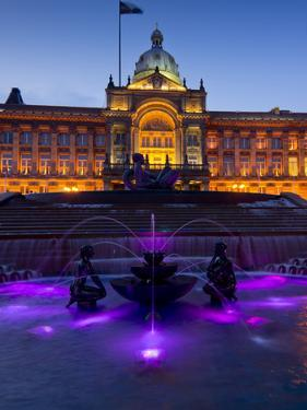 Council House and Victoria Square at Dusk, Birmingham, Midlands, England, United Kingdom, Europe by Charles Bowman