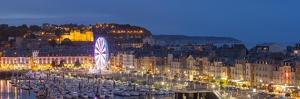 Dieppe harbour waterfront marina panorama at dusk, Dieppe, Seine-Maritime, Normandy, France by Charles Bowman