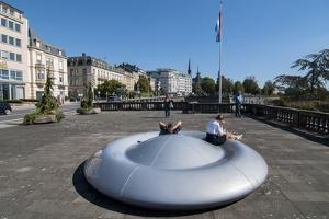 Doughnut Bench, Luxembourg City, Luxembourg, Europe by Charles Bowman