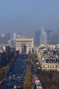 Elevated View of Champs Elysees, Arc De Triomphe and La Defense, Paris, France, Europe by Charles Bowman