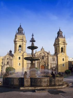 Fountain in Front of the Cathedral in Lima, Peru, South America by Charles Bowman