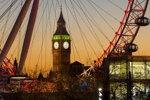 London Eye (Millennium Wheel) frames Big Ben at sunset, London, England, United Kingdom, Europe by Charles Bowman