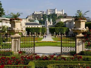 Mirabell Gardens and Schloss Hohensalzburg, Salzburg, Austria by Charles Bowman
