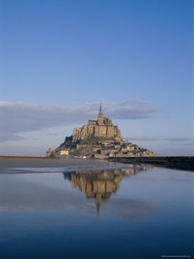 Mont St. Michel (Mont Saint-Michel) Reflected in Water, Manche, Normandy, France, Europe by Charles Bowman