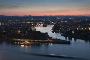 Mosel and Rhine Rivers Converge at Deutsches Eck, Koblenz, Rhineland-Palatinate, Germany, Europe by Charles Bowman