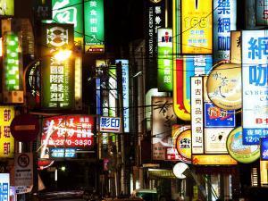 Neon Signs at Night, Taipei, Taiwan, Asia by Charles Bowman