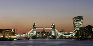 Panoramic view of Tower Bridge framing St. Paul's Cathedral with the City tower, London by Charles Bowman