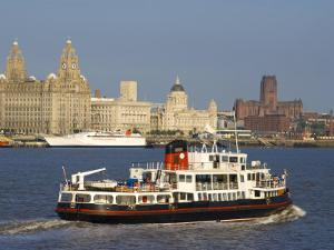 River Mersey Ferry and the Three Graces, Liverpool, Merseyside, England, United Kingdom, Europe by Charles Bowman
