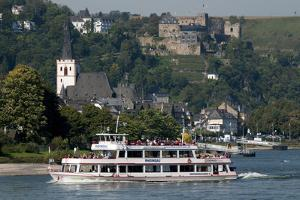 River Rhine Tourist Cruiser Passes in Front of St. Goar by Charles Bowman