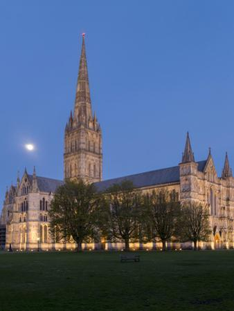 Salisbury Cathedral At Dusk With Moon by Charles Bowman