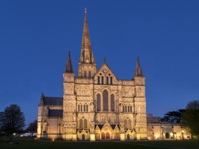 Salisbury Cathedral At Dusk by Charles Bowman