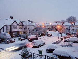 Snowy Street Scene, Surrey, Greater London, England, United Kingdom, Europe by Charles Bowman