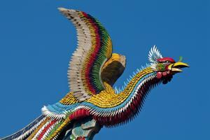 Taipei Colourful Bird Icon On Temple Longshan by Charles Bowman