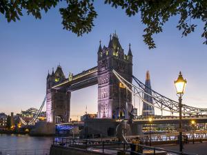 Tower Bridge and Shard at dusk, London, England, United Kingdom, Europe by Charles Bowman