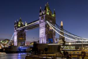 Tower Bridge and The Shard at dusk, London, England, United Kingdom, Europe by Charles Bowman