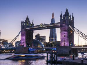 Tower Bridge, Shard and City Hall, London, England, United Kingdom, Europe by Charles Bowman