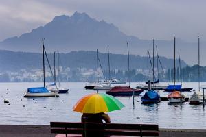 Umbrella On Lake Lucerne by Charles Bowman