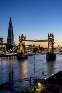 View of the Shard and Tower Bridge Above the River Thames at Dusk by Charles Bowman