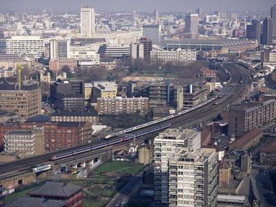 View Over Vauxhall with Eurostar and Other Trains Approaching Waterloo Station, London, England