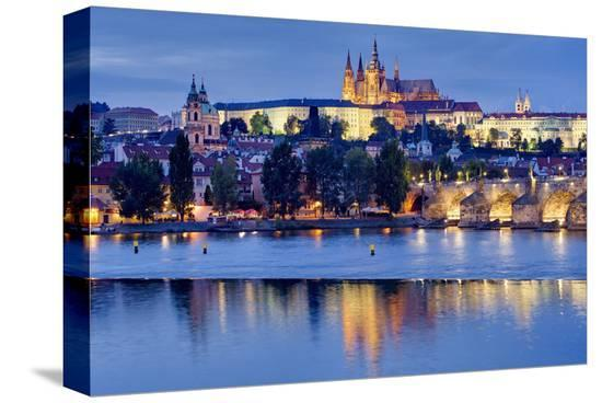 Charles Bridge across Vltava River with Hradcany Quarter and St. Vitus Cathedral in Prague--Stretched Canvas Print