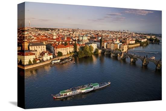 Charles Bridge across Vltava River with Old Town Bridge Tower in Prague--Stretched Canvas Print