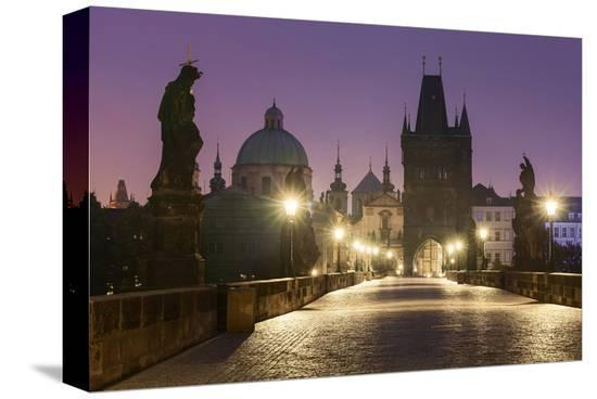Charles Bridge and Old Town Bridge Tower in Prague, Central Bohemia, Czech Republic--Stretched Canvas Print